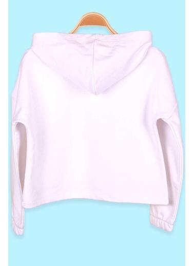 Breeze Kız Çocuk Sweatshirt Göbek Üstü Baskılı Beyaz (12 Yaş) Beyaz